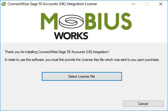 The installation creates a ConnectWise Manage-Sage 50 Accounts Integration Application desktop icon.