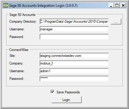 Using the Application Logging In The first time you run the application, you will be prompted for both your Sage 50 Accounts and Manage credentials.