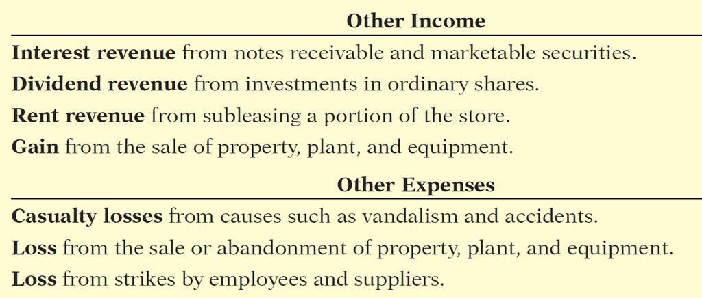 Forms of Financial Statements Income Statement Key Items: Net sales Gross