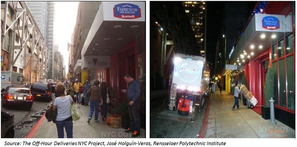 Recommendations Discussion and Examples: In 2010, New York City conducted a pilot program to measure the benefits of off-hour deliveries between 7:00 PM and 6:00 AM instead of at peak hours (Figure