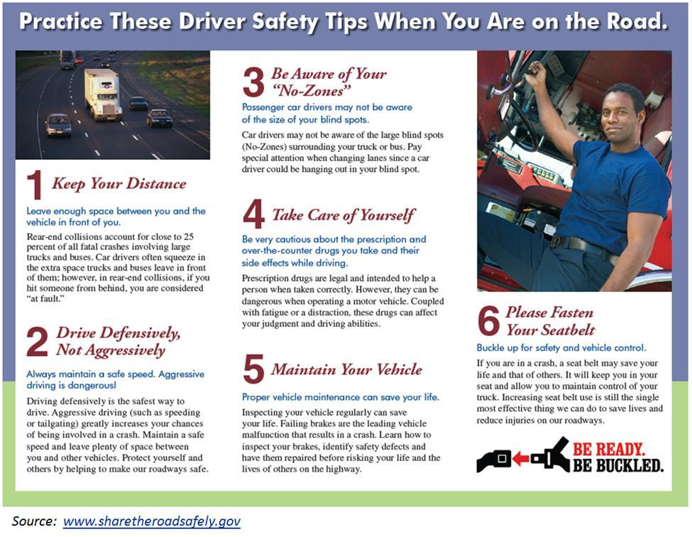 Recommendations Figure 28: Snapshot of FMCSA Share the Road Safely Brochure 8.3. Long Term Recommendations (10