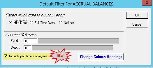 ADD THE ABILITY TO INCLUDE OR EXCLUDE PART TIME EMPLOYEES FROM THE REPORT ACCRUAL PAYOUT (PR040PAY 27314