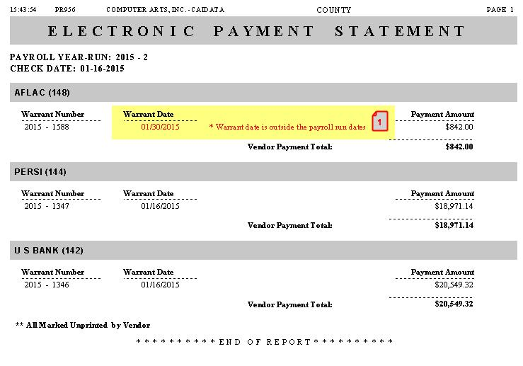WAS NOTHING DEDUCTED FOR A PAYROLL ITEM THE ELECTRONIC PAYMENT DOESN T