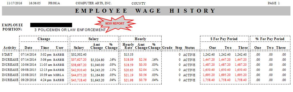 HISTORY (PR082A 36521 CAI) 1. NEW REPORT TO SHOW THE EMPLOYEES POSITION HISTORY.
