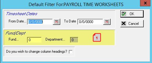PAYROLL TIME WORKSHEET (PR007 12177 GEM) 1. ADD THE ABILITY TO FILTER BY FUND AND DEPARTMENT. PAYSTUB (PR500R, PR500RS, PR500R1, PR500RS1, PR500R1S 32775 BINGHAM) 1.