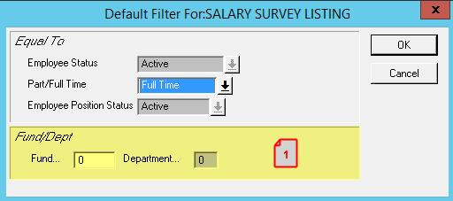 SALARY SURVEY (PR025 22132 GOODING) 1. ADDED THE ABILITY TO FILTER BY FUND AND DEPARTMENT.