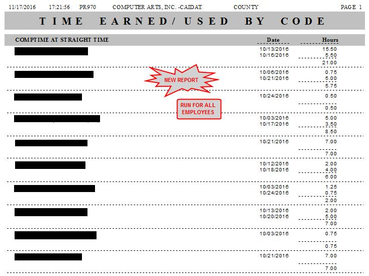 TIME EARNED/USED BY CODE (PR970 36342 CAI) 1.