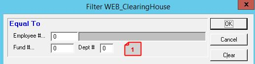 PAYROLL SOFTWARE CHANGES CLEARING HOUSE 1. SEARCH OPTION (33203 BINGHAM COUNTY) CHANGED THE TAB SEQUENCE TO MOVE TO THE OK BUTTON AND NOT THE CLEAR BUTTON 2.