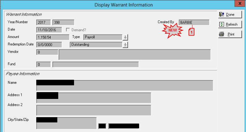 DISPLAY WARRANT 1. WHO CREATED THE WARRANT (27632) - ADD THE ABILITY TO SEE THE USER ID OF THE PERSON WHO CREATED THE WARRANT.
