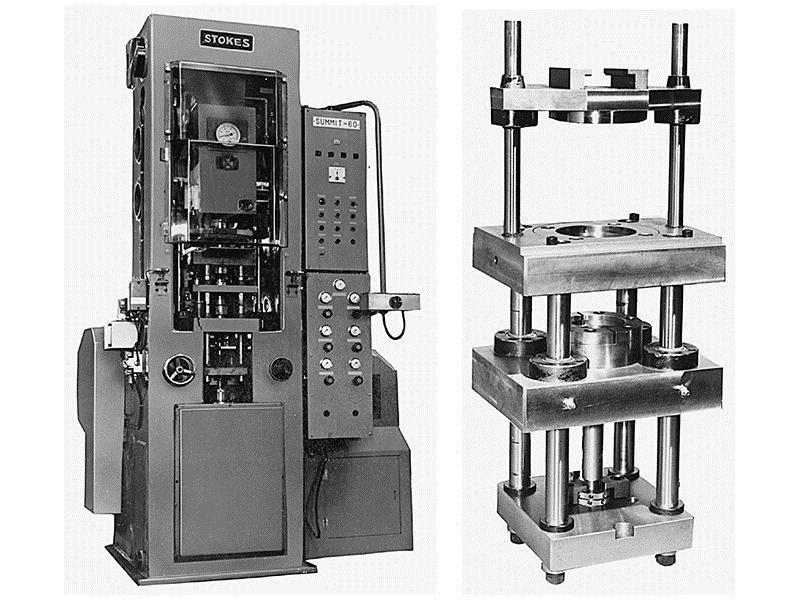 Figure 18-3 (Left) Typical press for the compacting of metal powders.