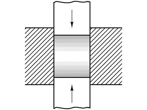 punch, showing the resultant nonuniform density (shaded), highest where particle movement is the greatest.