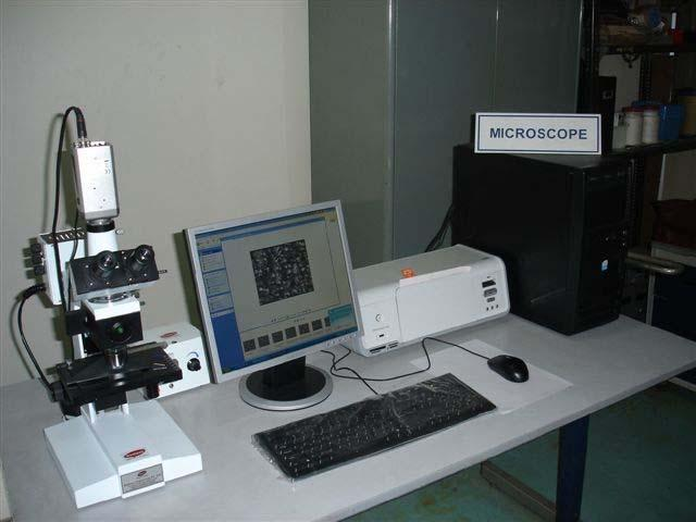 Metallurgical microscope Features Upright, Bright/Dark Field, polarizing attachment, Plan achromatic objectives, Wide field eyepieces, Reflected light illuminator.