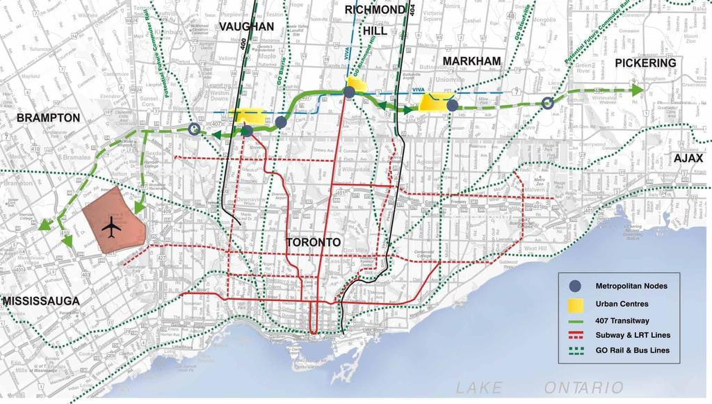 Role of the Project in the GTA An east-west, cross-regional, intermediate capacity rapid transit service linking Urban Growth Centres and connecting with the existing and future GTA radial