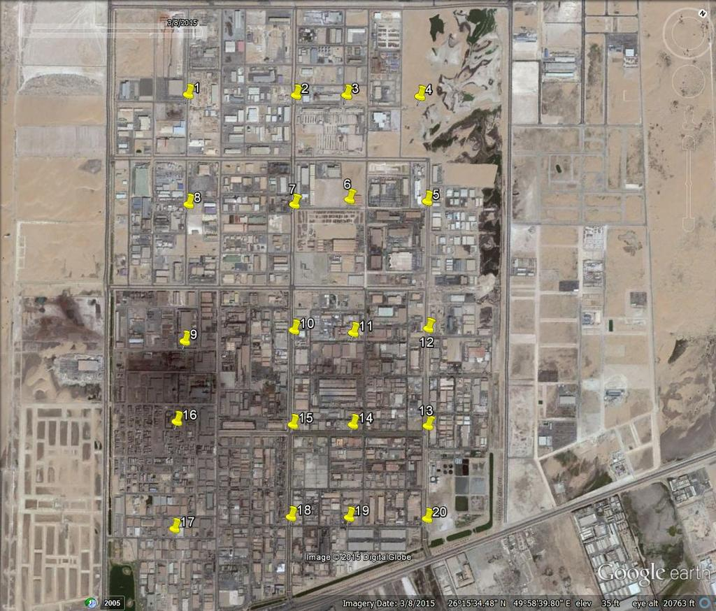Figure 1. Boundary of 2 nd industrial city of Dammam as shown by google map showing assigned location points for measurements and sampling (L1 - L20).