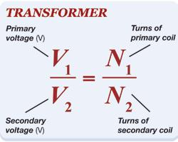Voltage relationships for a transformer The number important Voltage and current Transformers work because there are different number of turns in the coils.