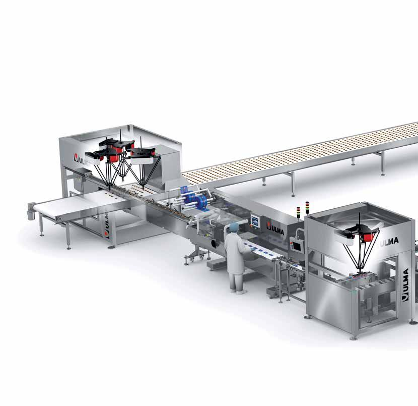 Biscuits Complete packaging line for biscuits from the production process which, by means of an automatic load system comprising vision and quality control, feeds the aligned product to the Flow pack