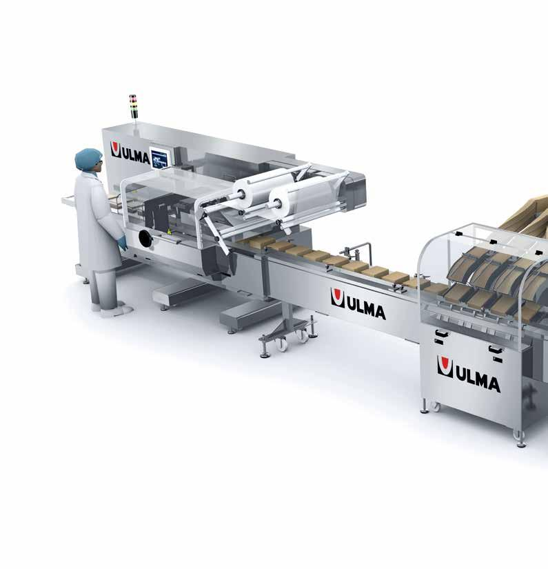 Crackers Automatic packaging line for grouped on-edge products.