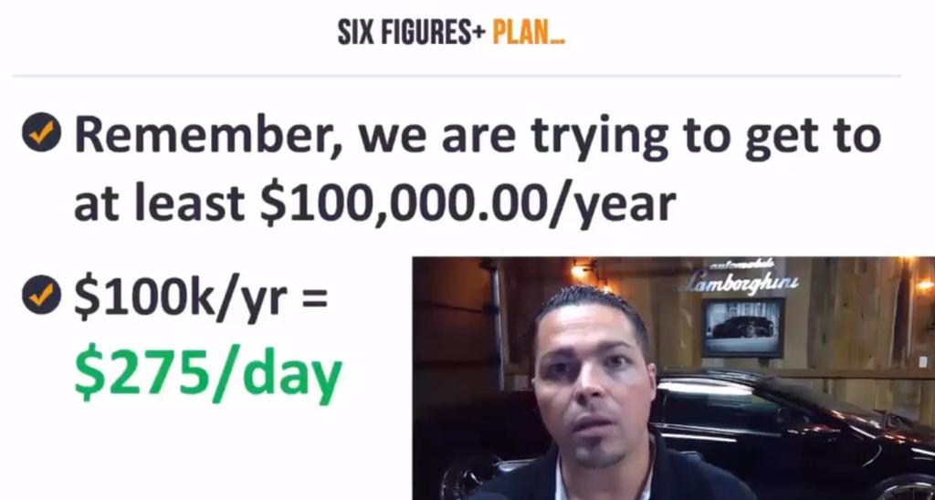 Six Figures+ PLAN: We want to do 6 figure incomes here.