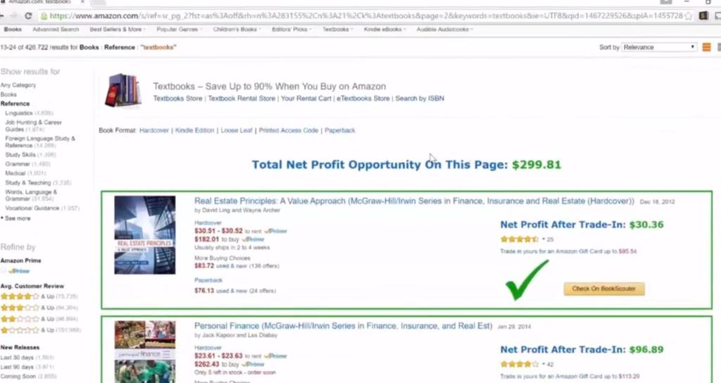 If we remove Amazon listing from this page, it will show total net profit opportunity on the page without Amazon. Now it is $70 profit just from this one book.