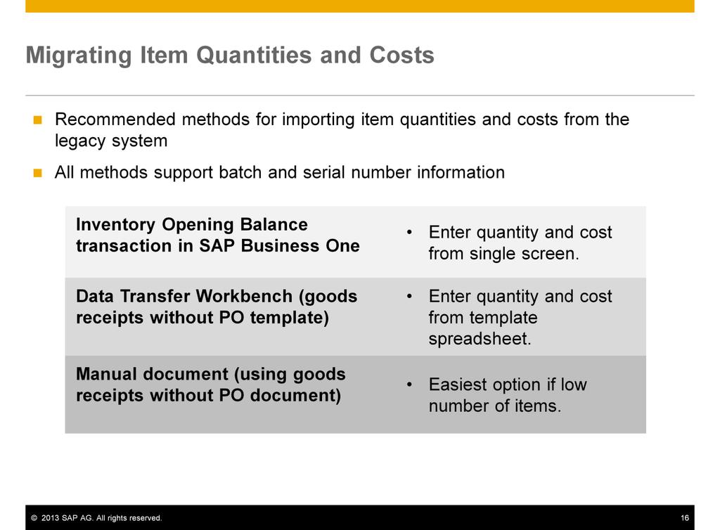 There are several methods recommended for importing item quantities and costs, including: The inventory opening balances transaction in SAP Business One.