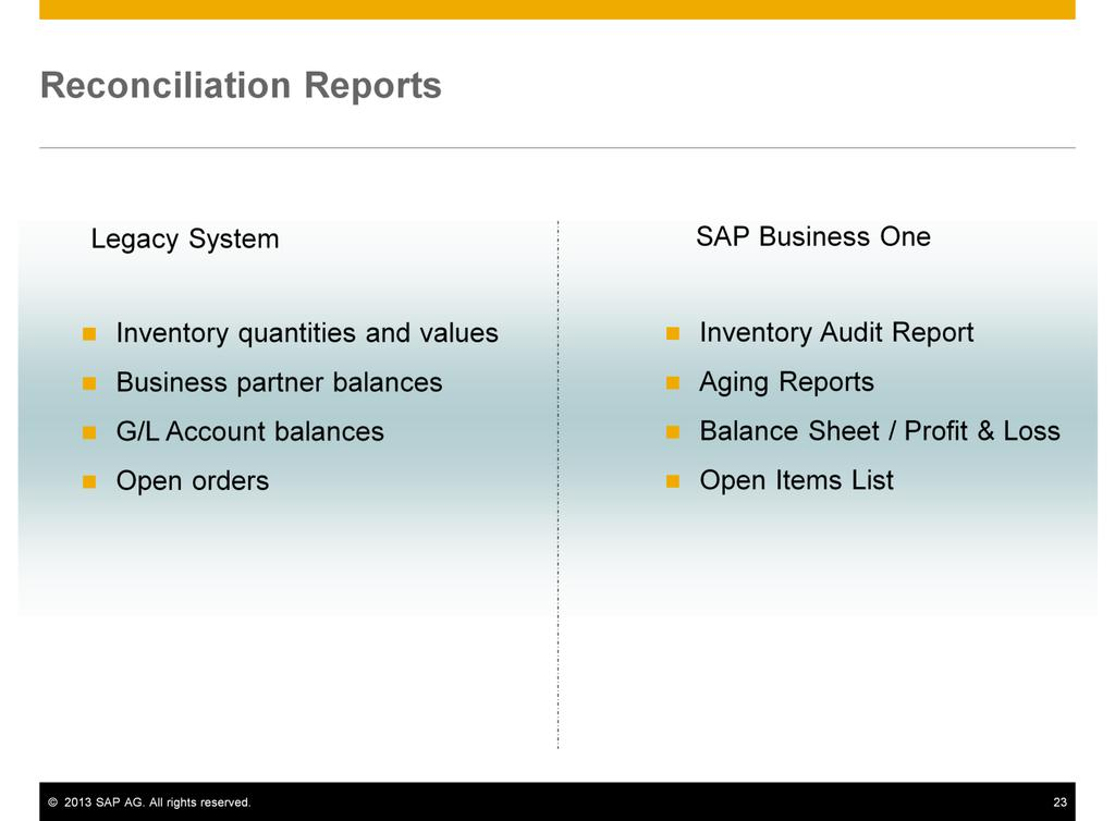 Regardless of how you perform the migration of open items and balances, you need to reconcile the accounts between SAP Business One and the legacy system.