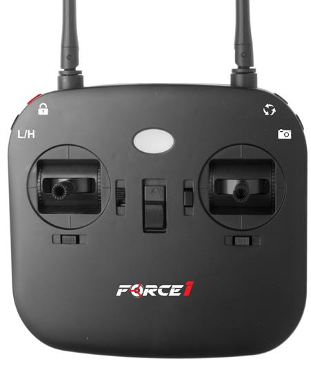FORCE1 RC 1 QUICK START GUIDE Insert the battery into the drone to power it on (Fig. 6). FIGURE 6 2 Press the red button on top left of the transmitter while turning on the power (Fig. 7).