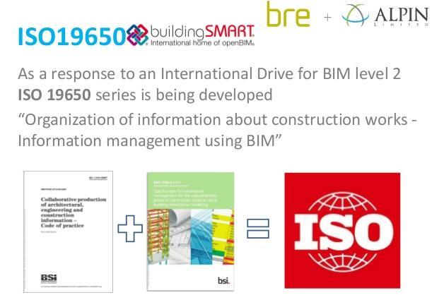 3.3 ISO 19650 ISO 19650 Specification for information management for the capital/delivery phase of construction projects using building information modelling Work In Progress ISO 19650 is adapting