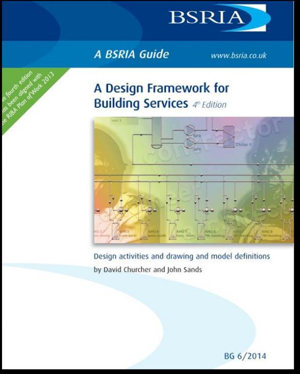 3.7 BSRIA Design Framework for Building Services 4th Edition (BG 6/2014) Following the introduction of PAS 1192: Part 2, BG6 in 2014 became the industry standard document for building services in the