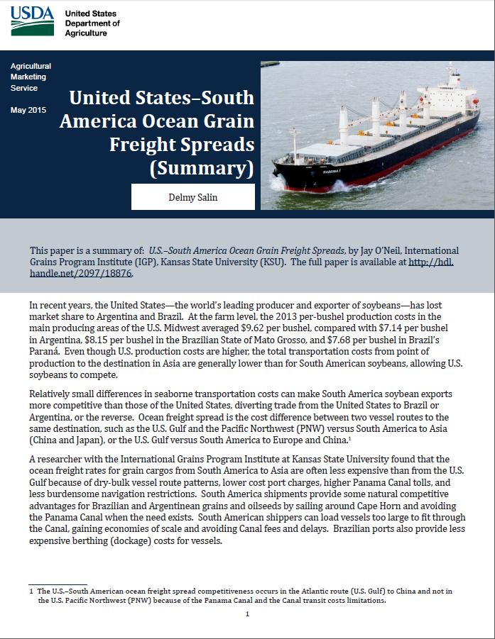 U.S.-South America Ocean Grain Freight Spreads Cooperative study with Kansas State University Examined