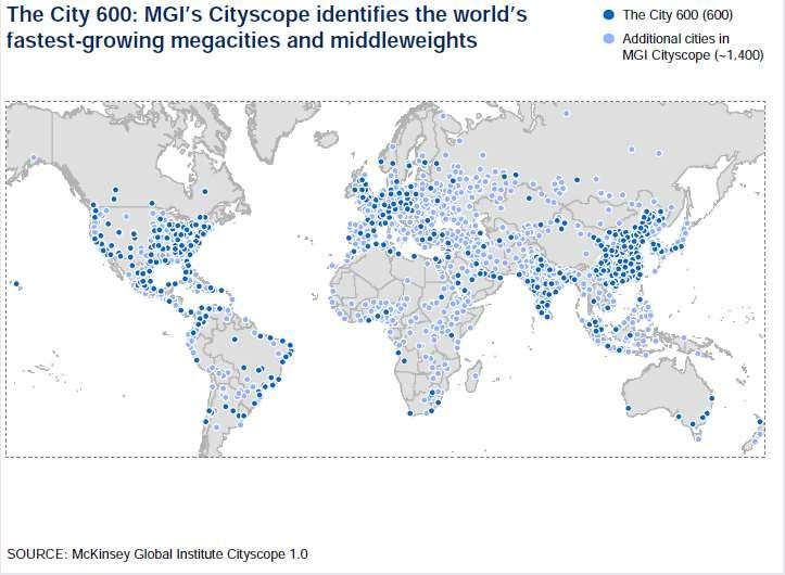 MAP 1: LOCATION OF THE 600 LARGEST WORLD CITIES The largest of these cities can be defined as megacities with a population of more than 10 million.