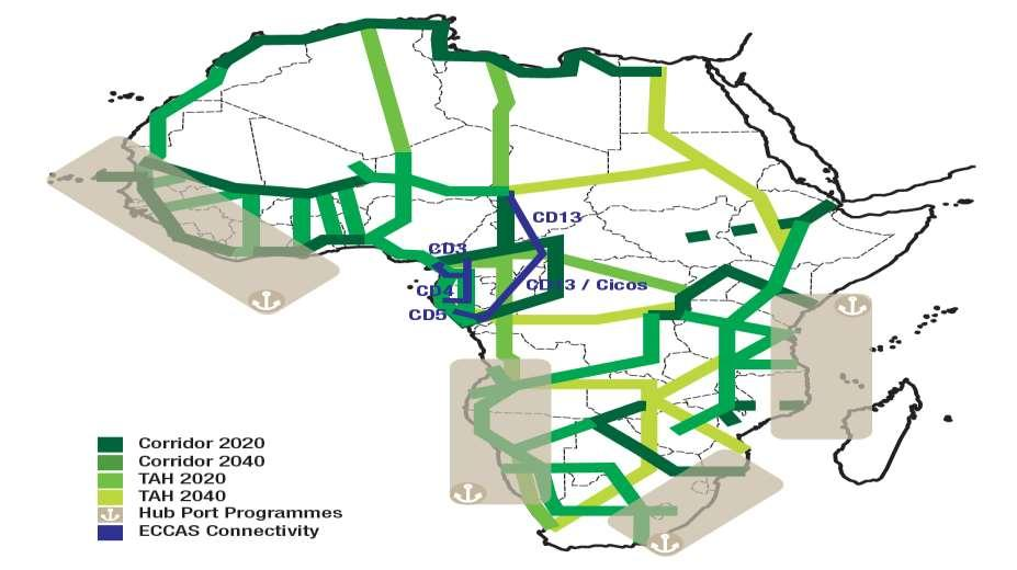 MAP 3: PIDA: PLANNED TRANSPORT PROJECTS The most important PIDA projects in the energy and transport sectors that will impact on South Africa and improve its links with the rest of the continent are