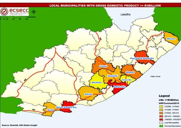 MAP 4: MUNICIPALITIES WITH GVA GREATER THAN R2 BILLION