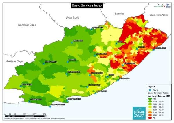 MAP 7: BASIC SERVICES INDEX It is important to note that there are only four LMs with large and growing population and high backlogs: KSD, Nyandeni, Ngquza Hill and Mbizana.