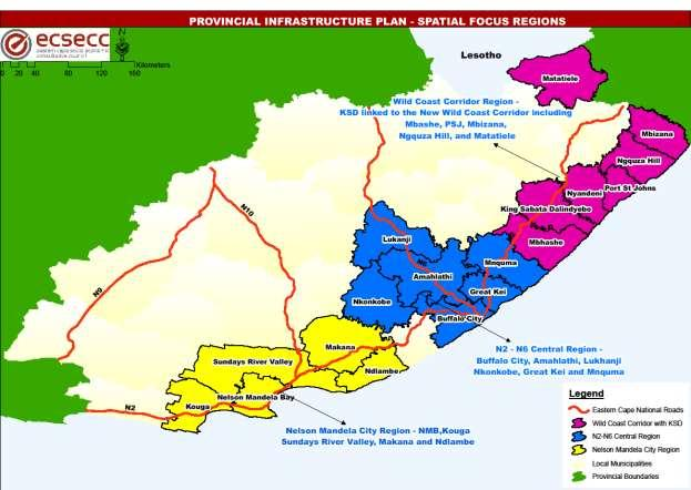 The proposed ECIP spatial focus combines the ICDI and the spatial analysis into three growth regions that should be prioritised for infrastructure development: Nelson Mandela City Region: NMB, Kouga,