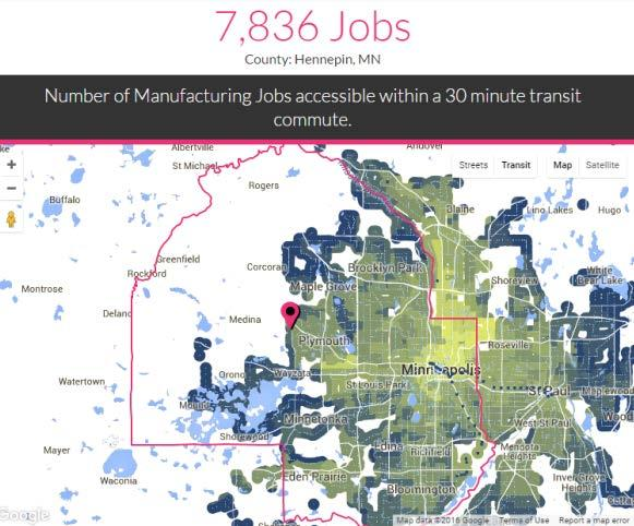 TRANSIT PROXIMITY VS. TRANSIT ACCESSIBILITY Hennepin County has 60,000 mfg.