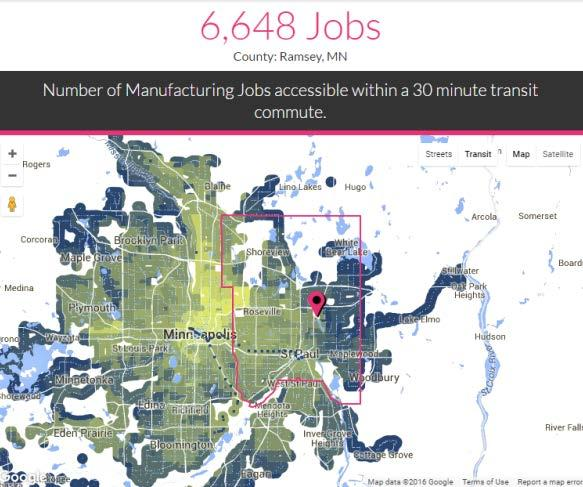 TRANSIT PROXIMITY VS. TRANSIT ACCESSIBILITY Ramsey County has 22,000 mfg.