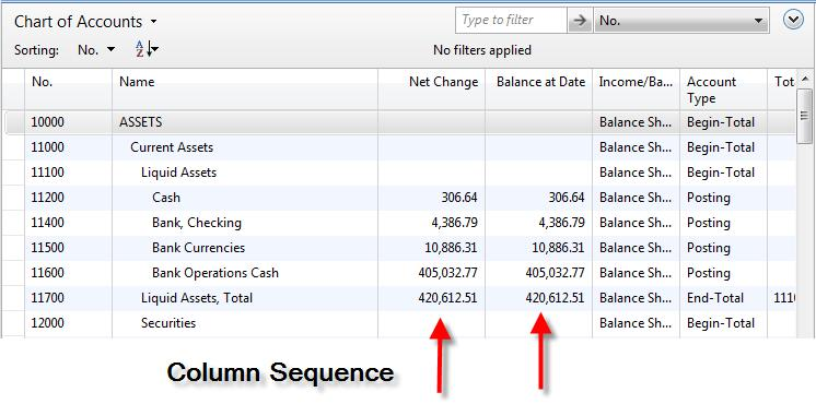 Tip: Arrange your Net Change and Balance at Date as follows for better usability: P:\Click