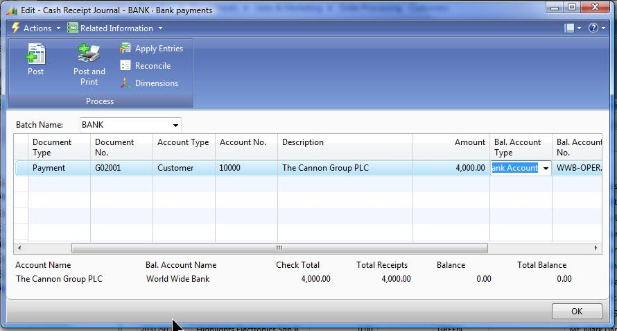 Cash Management 3. Cash Receipts Journal w/ new Customer Check Total.