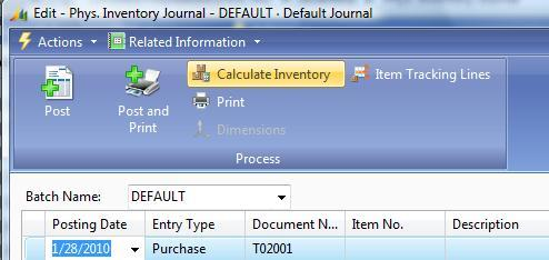 31. Physical Inventory Journal Improved the calculation routine in the Physical Inventory worksheet. There is a new option to enable bringing in items without Ledger Entries.