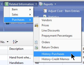 34. Item Card, Purchases, and Added History and Credit Memos to launch