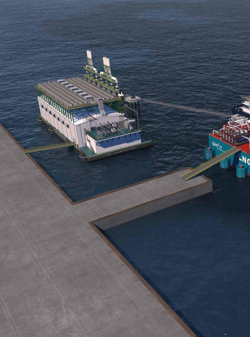 LNG-TO-POWER Combining small to mid-scale LNG Floating Storage and Regasification Units (FSRU) with floating power barges provides flexible and easy access to emerging energy markets.