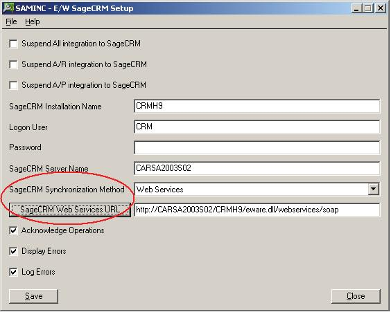 Changes in Previous Versions of Sage 300 ERP and Sage CRM 3. In the Sage CRM Synchronization Method field, select Web Services.