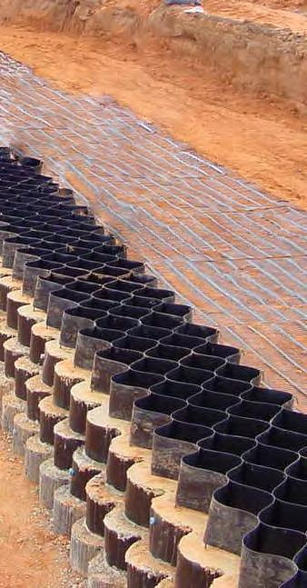 The Envirogrid Solution An EnviroGrid retaining wall or steepened slope can be constructed in almost any situation where a rapid change of grade is desired.