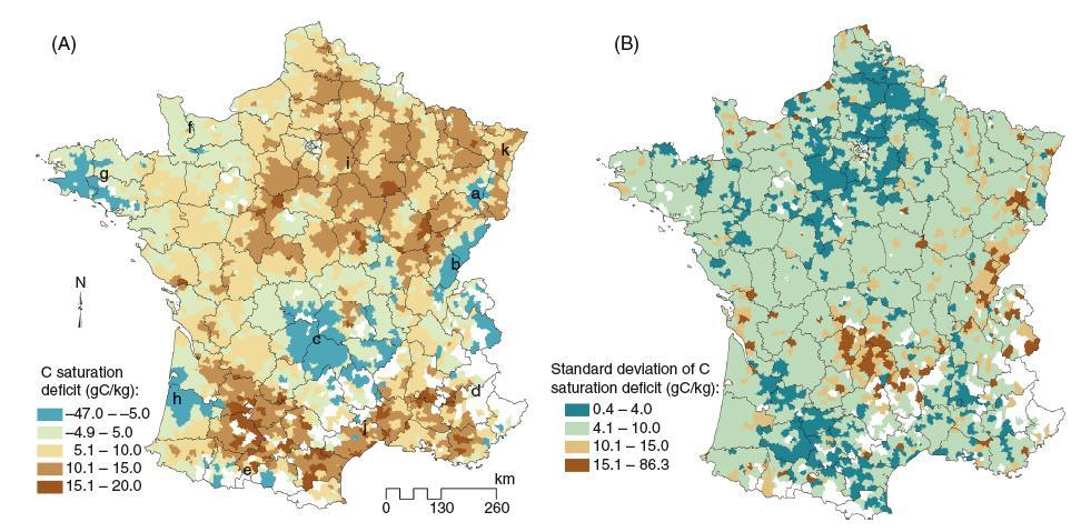 Mapping carbon saturation deficit as tool for directing policy measures Maps of carbon saturation deficit per canton: (A) mean estimate and (B) standard deviation from 100 Monte Carlo estimations of