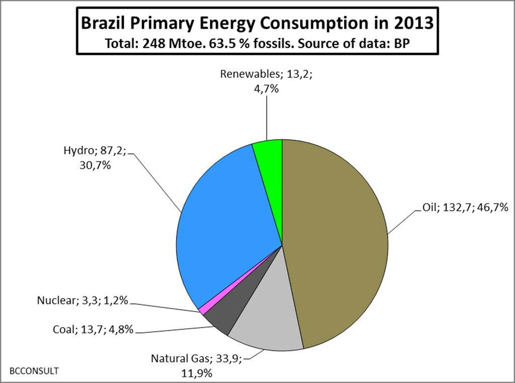 Brazil: primary energy supply in 2013: large