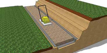 approximately 150mm deep Rough grade gravel with a rake close to finish base elevation Compactor Compacted Gravel Leveling Pad Step 6 Compact Leveling