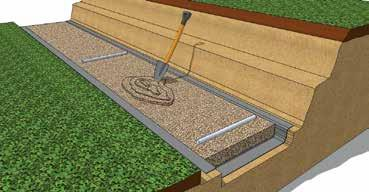 to set the Screed Pipe to the proper level Gravel is added underneath and around the Screed Pipe to support while leveling Place the second Screed Pipe across the trench approximately 3m from the