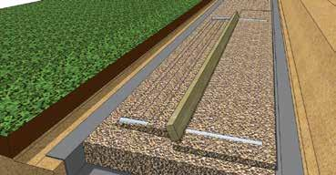Board or Straight Edge Long Level Short Level Continue to place and level Screed Pipes the full length of the trench leveling pad or until reaching a base elevation change Screed Pipe Shovel Step 8