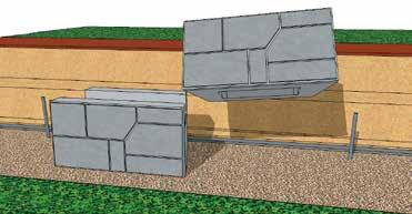 Screed Pipes from the leveling pad Place a steel stake at either end of the leveling pad to establish the back of the first course of units Secure tightly a string line to the stakes at either end