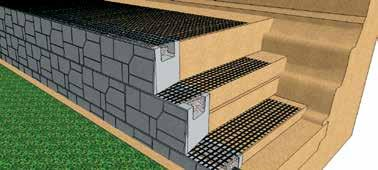 AUSTRAL MASONRY GEOGRID REINFORCED MAGNUMSTONE WALLS Installation Tensioned Geogrid Stakes Placed to Maintain Geogrid Tension Step 3